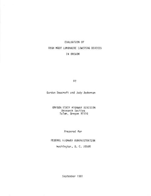 "This archived document is maintained by the Oregon State Library as part of the Oregon Documents Depository Program.  It is for informational purposes and may not be suitable for legal purposes., Title from PDF title page (viewed on Apr. 22, 2011), ""September 1981."", Mode of access: Internet from the Oregon Government Publications Collection."