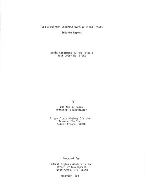 "This archived document is maintained by the Oregon State Library as part of the Oregon Documents Depository Program.  It is for informational purposes and may not be suitable for legal purposes., Title from PDF title page (viewed on May 13, 2011), ""December 1982."", DOT-FH-11/8876 8, Mode of access: Internet from the Oregon Government Publications Collection., Interim report"