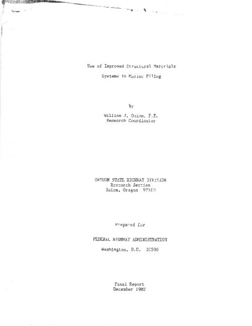 "This archived document is maintained by the Oregon State Library as part of the Oregon Documents Depository Program.  It is for informational purposes and may not be suitable for legal purposes., Title from PDF title page (viewed on May 23, 2011), ""December 1982."", ""FHWA-RD-OR-83-3""--Technical report documentation page, Includes bibliographical references (p. 75), Sponsored by Federal Highway Administration DOT-FH-11-9587, Mode of access: Internet from the Oregon Government Publications Collection., Final report; 4/79-12/82"