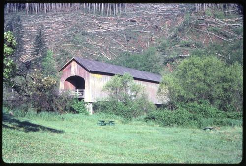 This unnamed structure in Elk City, Oregon, over Yaquina River is a 100 foot Howe covered bridge built in 1922. Location: T11S R10W S14, Photo by Glenn G. Groff., Courtesy of State Library of Oregon.