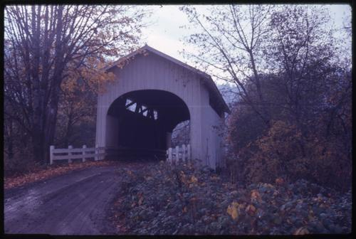 Harris bridge, 2 miles west of Wren, Oregon, over Marys River, is a 75 foot Howe covered bridge built in 1936. Location: T11S R6W S30, Photo by Glenn G. Groff., Courtesy of State Library of Oregon.