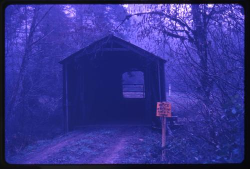 Pumping Station bridge, 5 miles west of Dallas, Oregon, over Rickreall Creek, is a private, 84 foot Howe covered bridge. Location: T7S R6W S35, Photo by Glenn G. Groff., Courtesy of State Library of Oregon.