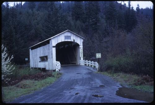 Wildcat Creek (a.k.a. Austa) bridge, 2 miles east of Linslaw, Oregon, over Wildcat Creek, is a 75 foot Howe covered bridge built in 1925. Location: T18S R8W S16, Photo by Glenn G. Groff., Courtesy of State Library of Oregon.