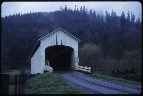 Nelson Mountain bridge, 1 mile south of Greenleaf, Oregon, over Lake Creek, is a 105 foot Howe covered bridge built in 1928. Location: T17S R8W S8, Photo by Glenn G. Groff., Courtesy of State Library of Oregon.