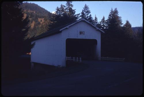 Dorena bridge, 4 miles south of Dorena, Oregon, over Row River, is a 105 foot Howe covered bridge built in 1949. Location: T21S R2W S24, Photo by Glenn G. Groff., Courtesy of State Library of Oregon.