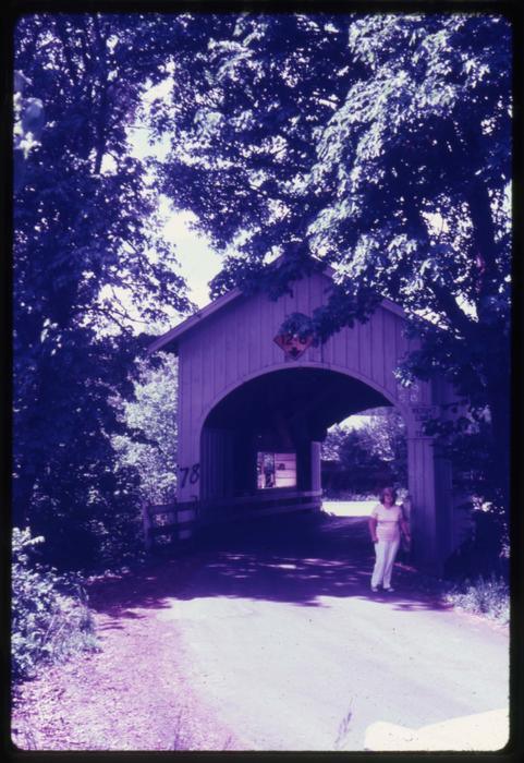 Neal Lane bridge in Myrtle Creek, Oregon, over Myrtle Creek is a 42 foot kingpost covered bridge built in 1939. Location: T29S R5W S27, Photo by Glenn G. Groff., Courtesy of State Library of Oregon.