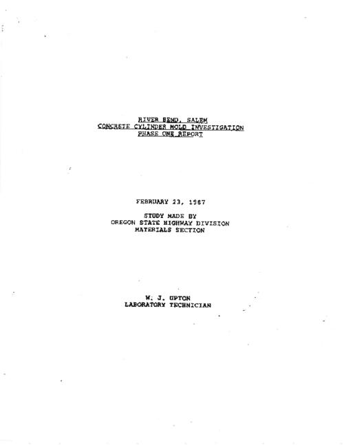 "This archived document is maintained by the Oregon State Library as part of the Oregon Documents Depository Program.  It is for informational purposes and may not be suitable for legal purposes., Title from PDF title page (viewed on June 3, 2011), ""February 23, 1987."", ""Specification no. 504""--Technical report documentation page, Mode of access: Internet from the Oregon Government Publications Collection., Research report"