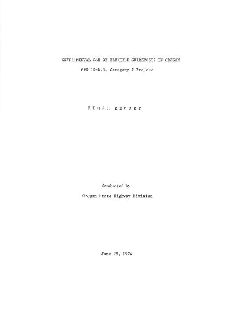 "This archived document is maintained by the Oregon State Library as part of the Oregon Documents Depository Program.  It is for informational purposes and may not be suitable for legal purposes., Title from PDF title page (viewed on June 3, 2011), ""June 25, 1974."", ""PPM 10-6.3, Category 2 project."", Mode of access: Internet from the Oregon Government Publications Collection., Final report"