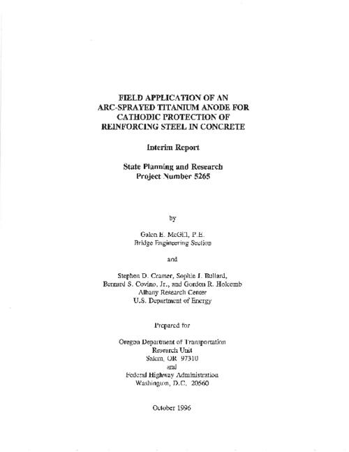 "This archived document is maintained by the Oregon State Library as part of the Oregon Documents Depository Program.  It is for informational purposes and may not be suitable for legal purposes., Title from PDF title page (viewed on June 3, 2011), ""October 1996."", ""State Planning and Research Project Number 5265."", ""FHWA-OR-RD-97-01""--Technical report documentation page, Includes bibliographical references (p. 85-86), Sponsored by Federal Highway Administration; Oregon Dept. of Transportation, Research Unit SPR 5265m, Mode of access: Internet from the Oregon Government Publications Collection., Interim report; July 1994-June 1996"