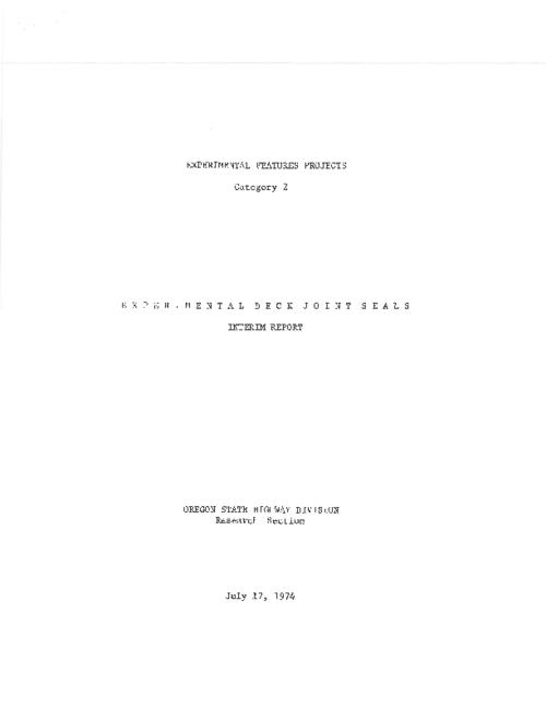 "This archived document is maintained by the Oregon State Library as part of the Oregon Documents Depository Program.  It is for informational purposes and may not be suitable for legal purposes., Title from PDF title page (viewed on June 22, 2011), ""July 17, 1974."", Mode of access: Internet from the Oregon Government Publications Collection., Interim report"