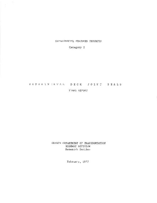 "This archived document is maintained by the Oregon State Library as part of the Oregon Documents Depository Program.  It is for informational purposes and may not be suitable for legal purposes., Title from PDF title page (viewed on June 22, 2011), ""February, 1977."", Mode of access: Internet from the Oregon Government Publications Collection., Final report"