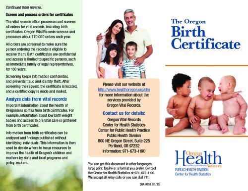 Oregon birth certificate | Oregon State Library