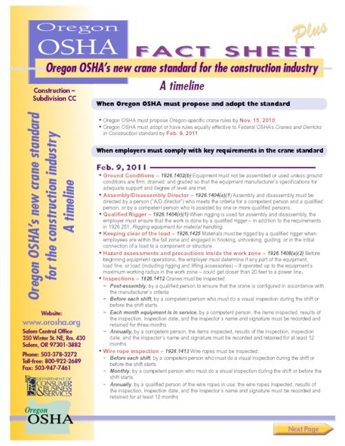Oregon OSHA\'s crane standard for the construction industry - October ...