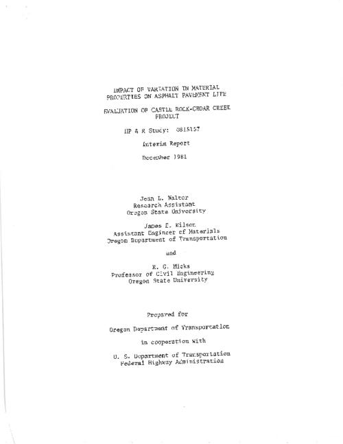 "This archived document is maintained by the Oregon State Library as part of the Oregon Documents Depository Program.  It is for informational purposes and may not be suitable for legal purposes., ""December 1981."", In cooperation with the Federal Highway Administration, Includes bibliographical references (p. 64), HPR 081-5157, Mode of access: Internet from the Oregon Government Publications Collection., Interim report. Jan. 1980-Dec. 1981"