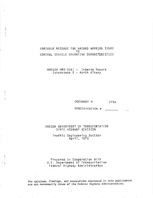 "This archived document is maintained by the Oregon State Library as part of the Oregon Documents Depository Program.  It is for informational purposes and may not be suitable for legal purposes., Title from PDF title page (viewed on July 25, 2011), ""April, 1972."", ""Document #3738."", Includes bibliographical references, Mode of access: Internet from the Oregon Government Publications Collection., Interim report"