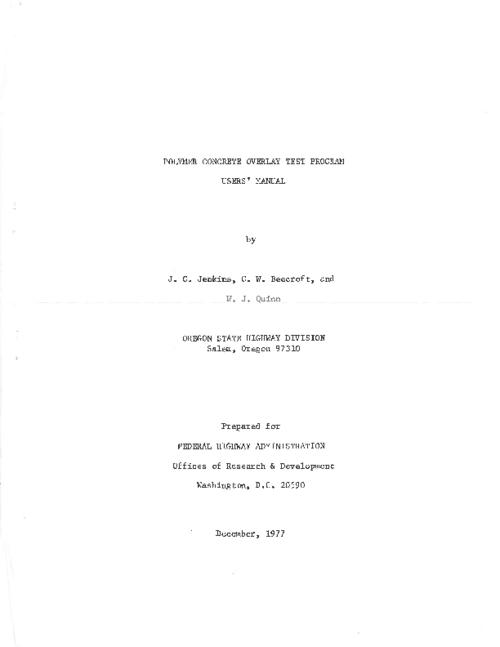 "This archived document is maintained by the Oregon State Library as part of the Oregon Documents Depository Program.  It is for informational purposes and may not be suitable for legal purposes., Title from PDF title page (viewed on July 26, 2011), ""December, 1977."", Mode of access: Internet from the Oregon Government Publications Collection."