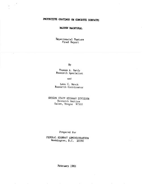 "This archived document is maintained by the Oregon State Library as part of the Oregon Documents Depository Program.  It is for informational purposes and may not be suitable for legal purposes., Title from PDF title page (viewed on July 29, 2011), ""February 1985."", RF 144(15), Mode of access: Internet from the Oregon Government Publications Collection., Final report; June 1977-Nov. 1982"