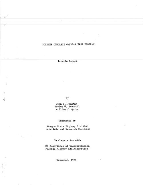 "This archived document is maintained by the Oregon State Library as part of the Oregon Documents Depository Program.  It is for informational purposes and may not be suitable for legal purposes., Title from PDF title page (viewed on July 29, 2011), ""November, 1974."", ""74-5""--Technical report documentation page, Includes bibliographical references (p. 46), Sponsored by Federal Highway Administration DOT-FH-11-8164, Mode of access: Internet from the Oregon Government Publications Collection., Interim report; July 1973-June 1974"