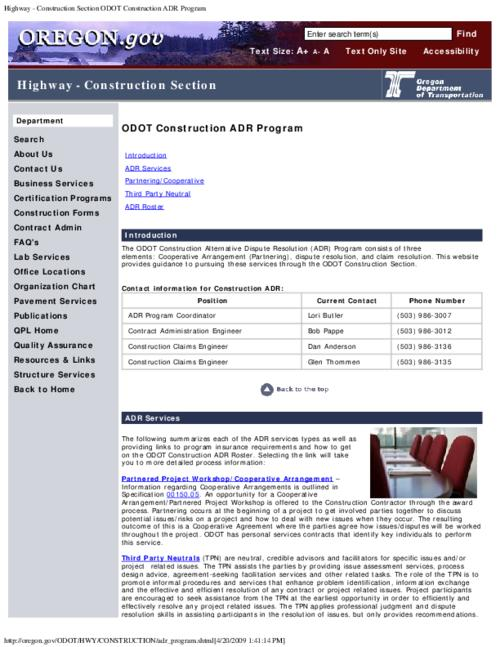 "This archived document is maintained by the Oregon State Library as part of the Oregon Documents Depository Program.  It is for informational purposes and may not be suitable for legal purposes., Title from PDF caption (viewed on Dec. 31, 2012), Converted from HTML, ""Page updated: April 17, 2009""--P. [5], Mode of access: Internet from the Oregon Government Publications Collection."