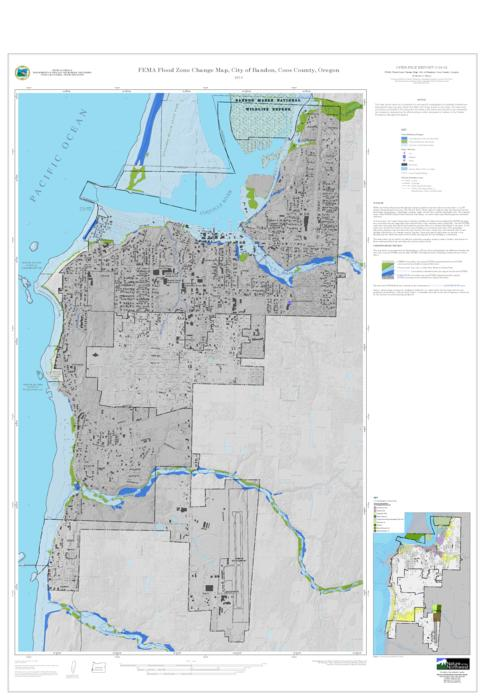 FEMA Flood Zone Change Map City Of Bandon Coos County Oregon - Flood line map