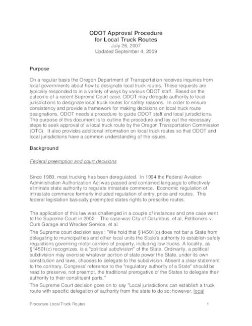 "This archived document is maintained by the Oregon State Library as part of the Oregon Documents Depository Program.  It is for informational purposes and may not be suitable for legal purposes., Title from PDF caption (viewed on Nov. 20, 2009), ""July 26, 2007, Upated September 4, 2009."", Mode of access: Internet from the Oregon Government Publications Collection."