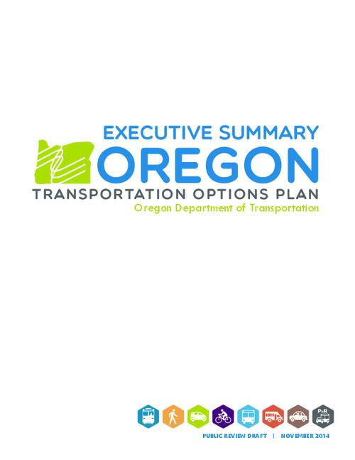 This archived document is maintained by the Oregon State Library as part of the Oregon Documents Depository Program.  It is for informational purposes and may not be suitable for legal purposes., Title from PDF cover (viewed on November 5, 2015)., Strategies, policies, and programs described in the Oregon Transportation Options Plan promote efficient use of existing transportation system investments, reducing reliance on the single-occupancy vehicle and facilitating use of walking, biking, transit, rideshare, and telecommuting., Includes bibliographical references (page 13)., Mode of access: Internet from the Oregon Government Publications Collection., Text in English.