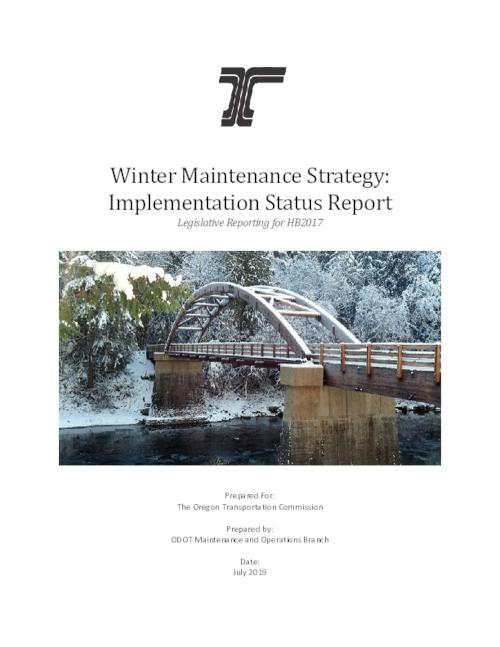 "Title from PDF cover (viewed on September 24, 2019)., ""In 2017 the Legislature required ODOT to ""develop a Winter Maintenance Strategy that included the use of solid salt or similar solid deicer, and consider environmental impacts."" The Strategy was developed, presented to the OTC, and approved in 2018 ...; a minor modification was made to the Strategy in 2019""--page 3., This archived document is maintained by the State Library of Oregon as part of the Oregon Documents Depository Program. It is for informational purposes and may not be suitable for legal purposes., Mode of access: Internet from the Oregon Government Publications Collection., Text in English."