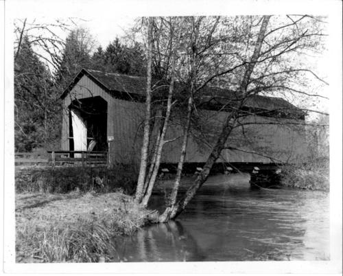 Pohle's Bridge over Mill Creek in Turner, Oregon., Courtesy of State Library of Oregon.