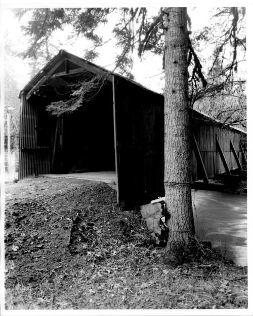 Covered bridge spanning Rickreall Creek near Ellendale, Polk County, Oregon., Courtesy of State Library of Oregon.