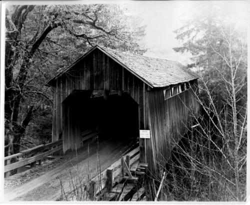 The Blair Covered Bridge over Mill Creek near Buell in Polk County was built in 1906. The construction costs totaled $714. The bridge lasted into the 1940s. The bridge was located just south/southwest of Buell on the old Military Highway between Fort Yamhill and Dallas. The state's assigned number for this bridge was #10048., Courtesy of State Library of Oregon.