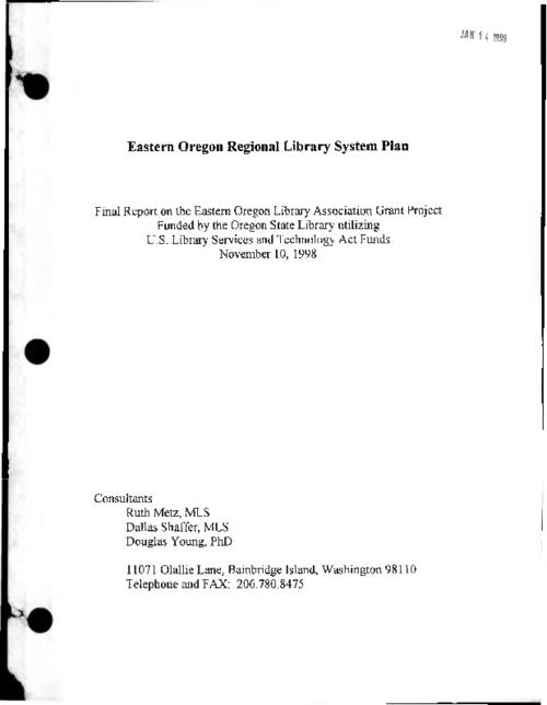 """Funded by the Oregon State Library utilizing U.S. Library Services and Technology Act Funds, November 10, 1998."", ""November 10, 1998."", Title from PDF cover (viewed on August 23, 2017)., This archived document is maintained by the State Library of Oregon as part of the Oregon Documents Depository Program. It is for informational purposes and may not be suitable for legal purposes., Mode of access: Internet from the Oregon Government Publications Collection., Text in English."