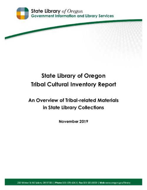 "Title from PDF cover (viewed on October 1, 2020)., ""The following report is submitted to the nine federally-recognized Oregon Indian Tribes in response to Executive Order No. 17-12, signed by Governor Kate Brown in 2017""--Page 2., This archived document is maintained by the State Library of Oregon as part of the Oregon Documents Depository Program. It is for informational purposes and may not be suitable for legal purposes., Mode of access: Internet from the Oregon Government Publications Collection., Text in English."