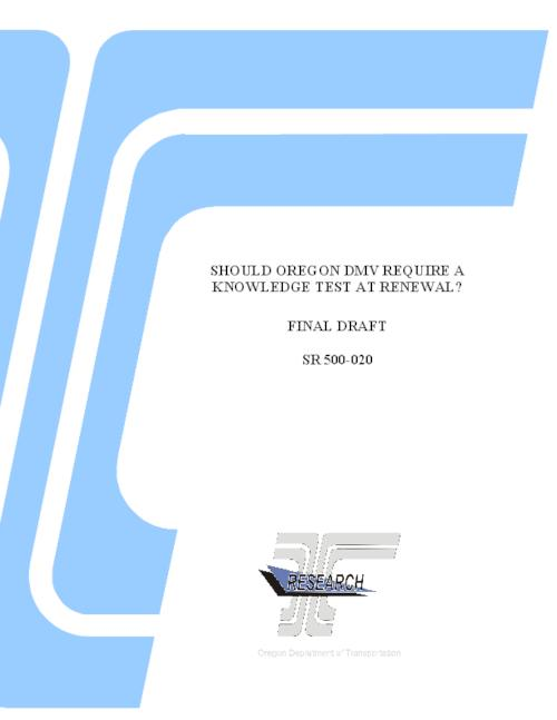 "This archived document is maintained by the Oregon State Library as part of the Oregon Documents Depository Program.  It is for informational purposes and may not be suitable for legal purposes., Title from PDF title page (viewed on February 3, 2016)., ""OR-RD-12-08""--Technical report documentation page., ""State Research Project 500-020."", ""Oregon DMV requested that ODOT Research Section review the testing practices of other states to determine what alternative approaches are taken to retesting adult drivers for their knowledge of driving practices and laws. DMV is also interested in evaluations that may have been completed to determine to what extent the outcome of knowledge tests is an indication of safe driving""--Page 1., Includes bibliographical references (page 13)., Sponsored by Oregon Department of Transportation, Research Section SR 500-020, Mode of access: Internet from the Oregon Government Publications Collection., Text in English., Final report September 2011 to January 2012"