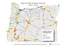 Deer and elk collision density, 2010-2016