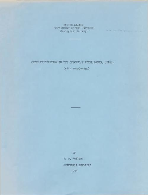 Typescript, mimeograph, carbon copy., Title from PDF cover (viewed on September 12, 2017)., This archived document is maintained by the State Library of Oregon as part of the Oregon Documents Depository Program. It is for informational purposes and may not be suitable for legal purposes., Mode of access: Internet from the Oregon Government Publications Collection., Text in English.