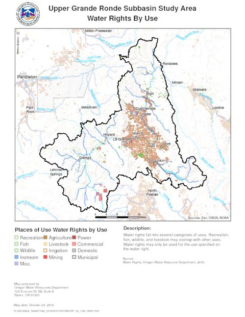 Water Rights By Use -- Water Rights By Type -- Points of Diversion by Source Type -- Significant Points of Diversion -- Instream Water Rights -- Active Gaging Stations -- Active Observaton Wells -- Well Density -- Months of Available Streamflow Calculated at 80% Exceedance -- Months of Available Streamflow Calculated at 50% Exceedance -- Streamflow Restoration Priorities Summer Season -- Dams by Storage Capacity -- Dam Locations and Hazard Classification., Title supplied by cataloger (viewed on September 26, 2017)., No relief shown., Includes legends., This archived document is maintained by the State Library of Oregon as part of the Oregon Documents Depository Program. It is for informational purposes and may not be suitable for legal purposes., Mode of access: Internet from the Oregon Government Publications Collection., Text in English.