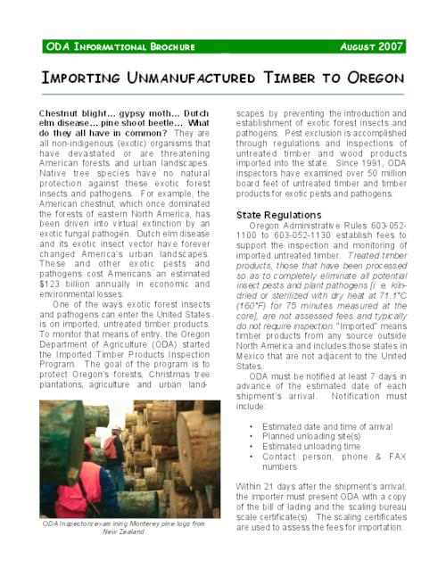"This archived document is maintained by the Oregon State Library as part of the Oregon Documents Depository Program.  It is for informational purposes and may not be suitable for legal purposes., Title from PDF caption (viewed on Sept. 3, 2009), ""August 2007."", Mode of access: Internet from the Oregon Government Publications Collection."