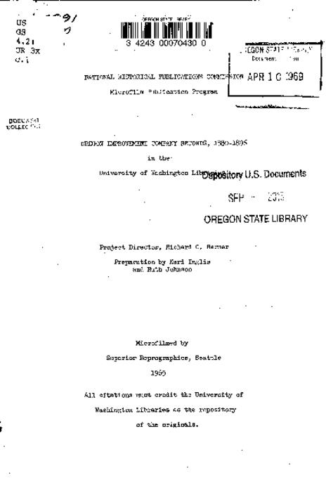 Title from PDF title page (viewed on September 28, 2017)., This archived document is maintained by the State Library of Oregon as part of the Oregon Documents Depository Program. It is for informational purposes and may not be suitable for legal purposes., Sponsored by the National Historical Publications Commission., Mode of access: Internet from the Oregon Government Publications Collection., Text in English.