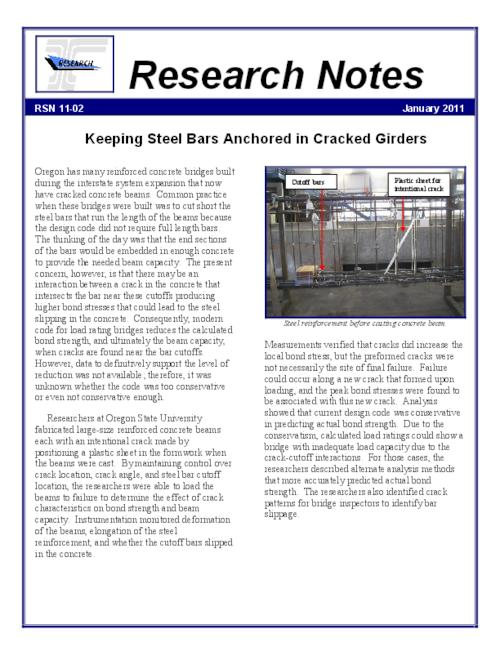 This archived document is maintained by the Oregon State Library as part of the Oregon Documents Depository Program.  It is for informational purposes and may not be suitable for legal purposes., Title from PDF caption (viewed on March 15, 2016)., Researchers at Oregon State University fabricated large-size reinforced concrete beams each with an intentional crack made by positioning a plastic sheet in the formwork when the beams were cast. By maintaining control over crack location, crack angle, and steel bar cutoff location, the researchers were able to load the beams to failure to determine the effect of crack characteristics on bond strength and beam capacity., Mode of access: Internet from the Oregon Government Publications Collection., Text in English.