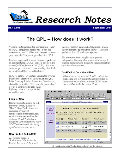 "This archived document is maintained by the Oregon State Library as part of the Oregon Documents Depository Program.  It is for informational purposes and may not be suitable for legal purposes., Title from PDF caption (viewed on June 4, 2010), ""September 2001."", Mode of access: Internet from the Oregon Government Publications Collection."