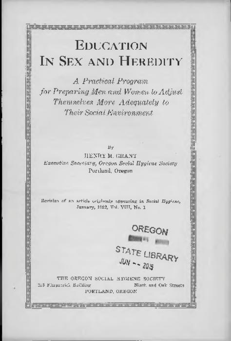Revision of an article originally appearing in Social hygiene, January, 1922, v. 8, no. 1., Title from PDF cover (viewed on October 10, 2017)., This archived document is maintained by the State Library of Oregon as part of the Oregon Documents Depository Program. It is for informational purposes and may not be suitable for legal purposes., Mode of access: Internet from the Oregon Government Publications Collection., Text in English.