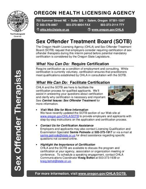 Sex offender treatment board